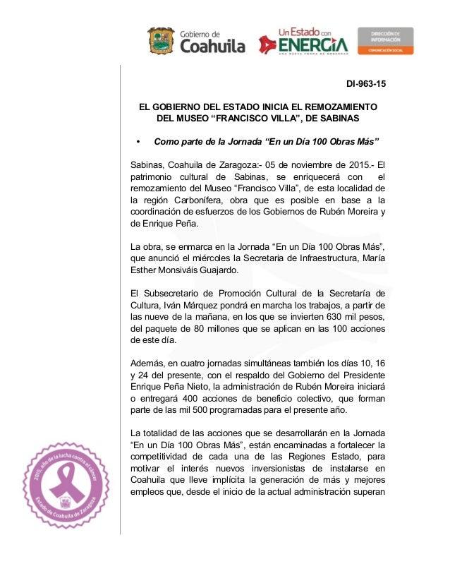 """DI-963-15 EL GOBIERNO DEL ESTADO INICIA EL REMOZAMIENTO DEL MUSEO """"FRANCISCO VILLA"""", DE SABINAS • Como parte de la Jornada..."""