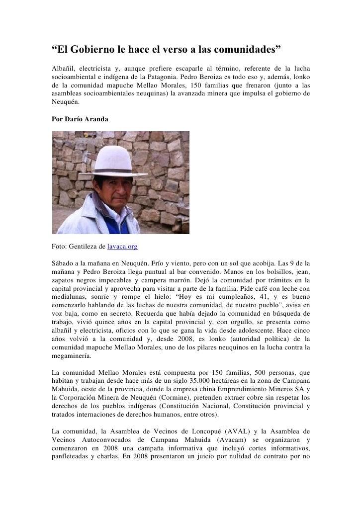 """""""El Gobierno le hace el verso a las comunidades""""Albañil, electricista y, aunque prefiere escaparle al término, referente d..."""