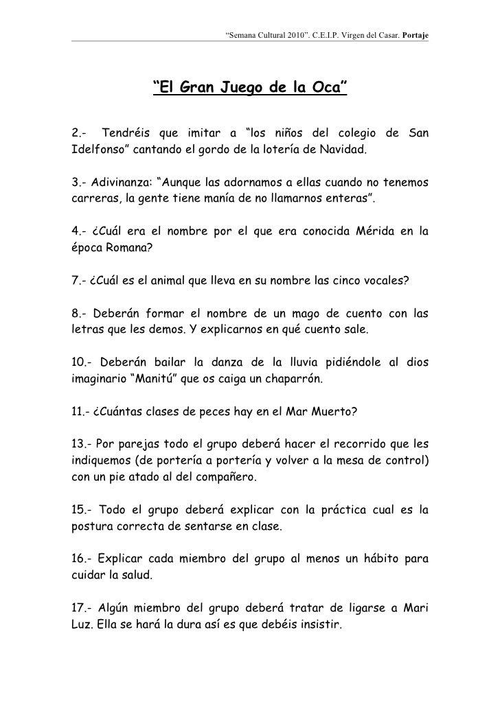 El Gran Juego De La Oca Colegio Portaje 2010 Semana Cultural Alumnos