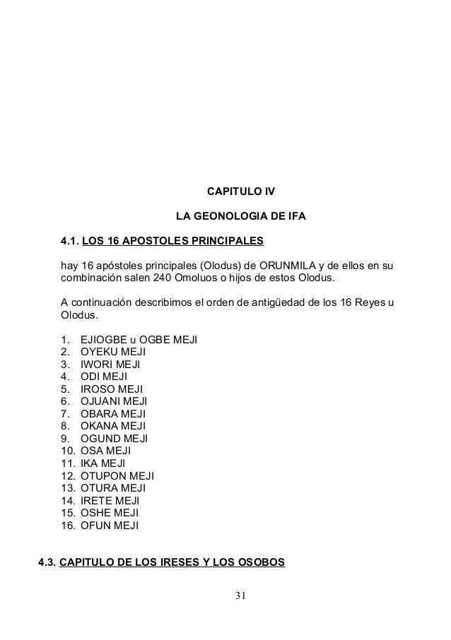 CAPITULO IV LA GEONOLOGIA DE IFA 4.1. LOS 16 APOSTOLES PRINCIPALES hay 16 apóstoles principales (Olodus) de ORUNMILA y de ...