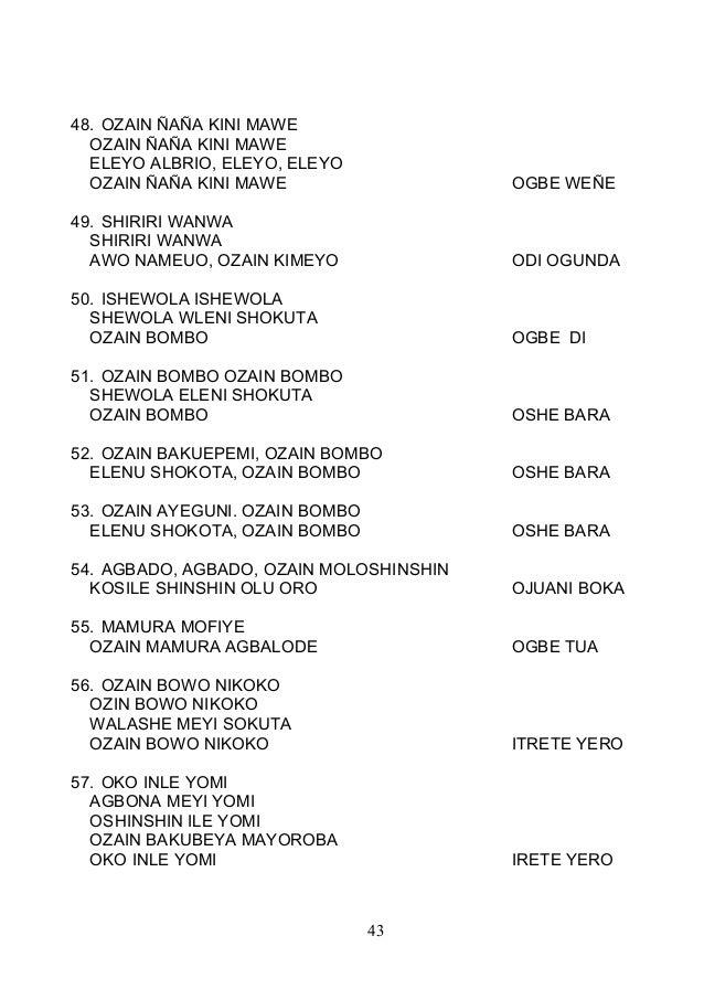 48. OZAIN ÑAÑA KINI MAWE OZAIN ÑAÑA KINI MAWE ELEYO ALBRIO, ELEYO, ELEYO OZAIN ÑAÑA KINI MAWE OGBE WEÑE 49. SHIRIRI WANWA ...