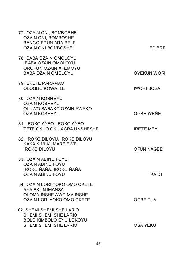 77. OZAIN ONI, BOMBOSHE OZAIN ONI, BOMBOSHE BANGO EDUN ARA BELE OZAIN ONI BOMBOSHE EDIBRE 78. BABA OZAIN OMOLOYU BABA OZAI...