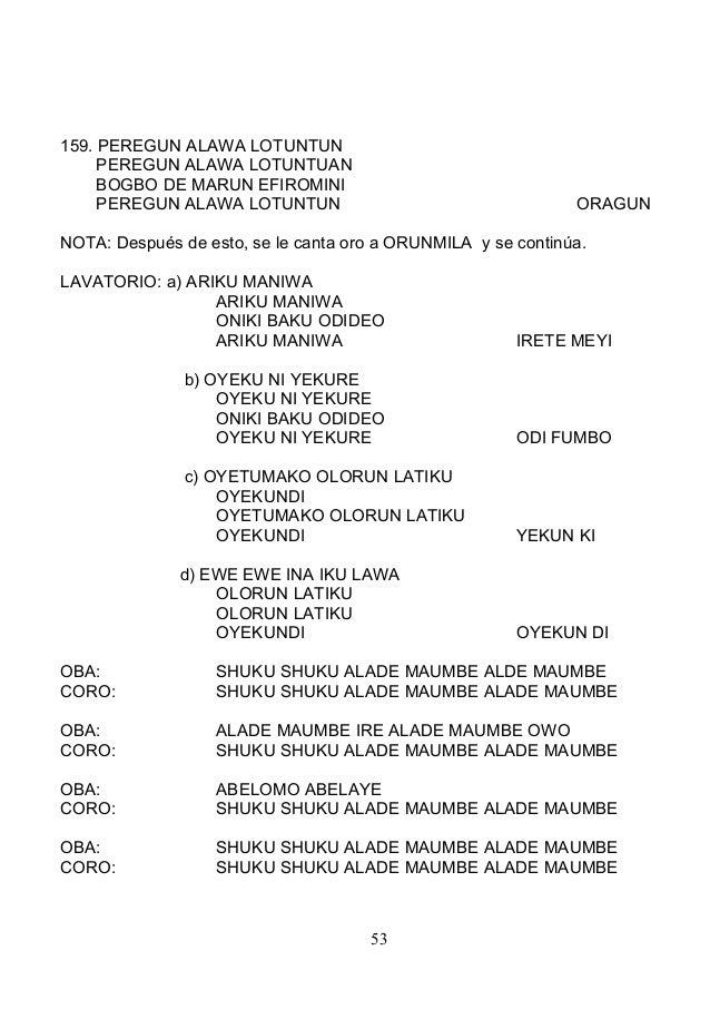 159. PEREGUN ALAWA LOTUNTUN PEREGUN ALAWA LOTUNTUAN BOGBO DE MARUN EFIROMINI PEREGUN ALAWA LOTUNTUN ORAGUN NOTA: Después d...