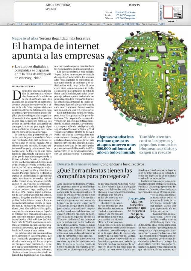 10/05/15ABC (EMPRESA) MADRID Prensa: Semanal (Domingo) Tirada: 153.907 Ejemplares Difusión: 108.064 Ejemplares Página: 6 S...