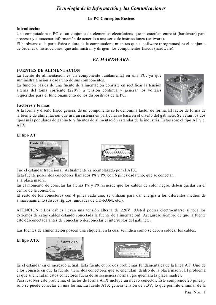 Tecnología de la Información y las Comunicaciones                                           La PC Conceptos Básicos  Intro...
