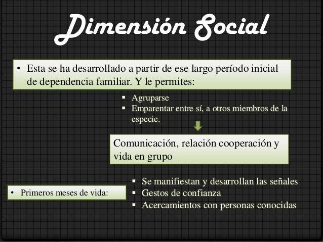 Dimensión CulturalEl proceso de socialización o trasmisión de herencia social, permite queel individuo comienza a interior...