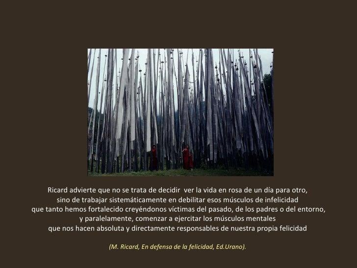 Ricard advierte que no se trata de decidir  ver la vida en rosa de un día para otro,  sino de trabajar sistemáticamente en...