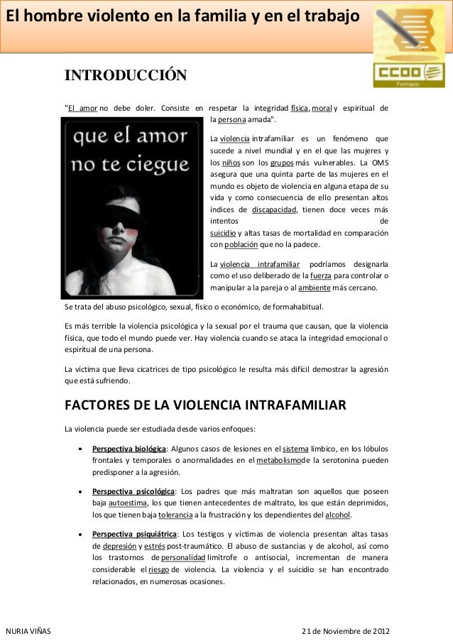 """El hombre violento en la familia y en el trabajo              INTRODUCCIÓN              """"El amor no debe doler. Consiste e..."""