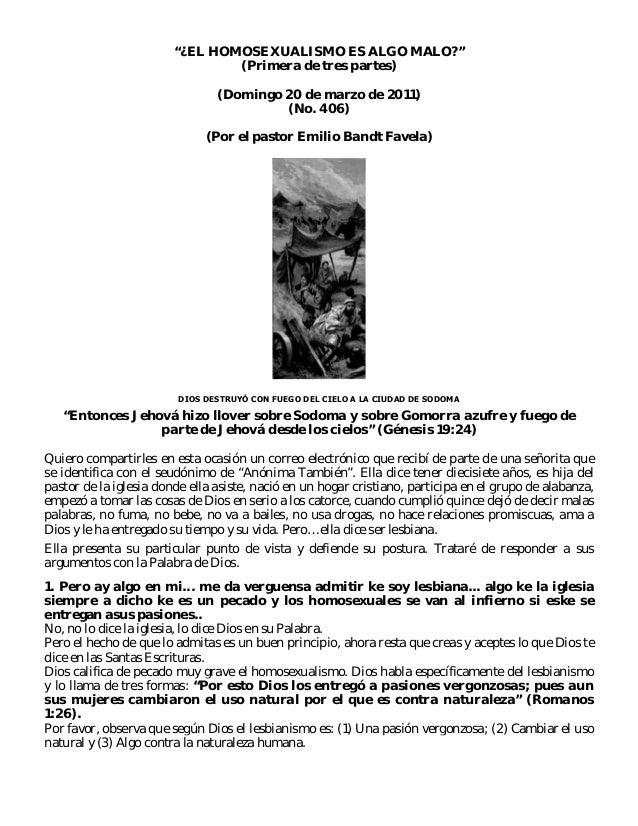 """""""¿EL HOMOSEXUALISMO ES ALGO MALO?"""" (Primera de tres partes) (Domingo 20 de marzo de 2011) (No. 406) (Por el pastor Emilio ..."""