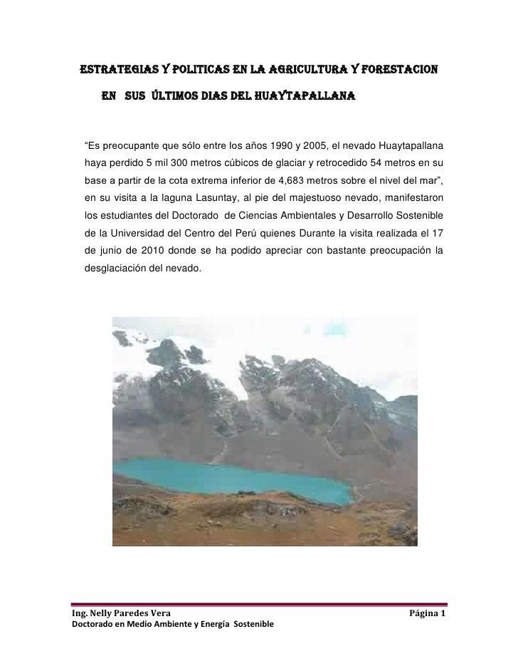 """ESTRATEGIAS Y POLITICAS EN LA AGRICULTURA Y FORESTACION<br />          En   SUS  ÚLTIMOS DIAS del huaytapallana <br />""""Es ..."""