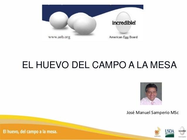 EL HUEVO DEL CAMPO A LA MESA José Manuel Samperio MSc
