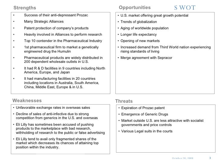eli lilly company swot analysis The swot analysis conducted during the study of the livestock vaccine market groups the major pieces into two  74 elanco/eli lilly 741 company profile.