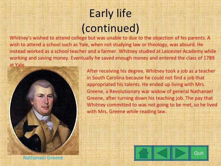 essay on eli whitney While eli whitney is best remembered as the inventor of the cotton gin essay sample on eli whitney topics specifically for you order now.