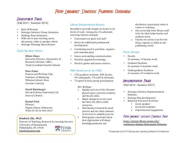 Penn Libraries' Strategic Planning Overview Development Phase (Fall 2013 - Summer 2014) !• Kick-off Retreat • Strategic Ad...