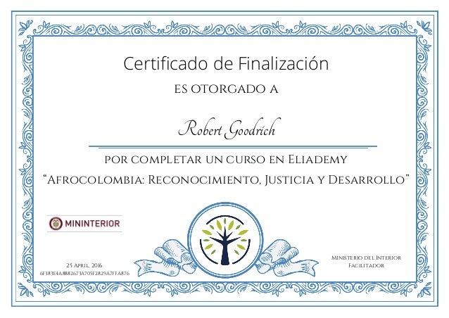 Certificado de finalizaci n eliademy y ministerio del for Ministerio del interion