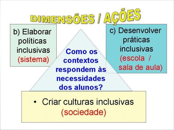 Criando culturas inclusivas (sociedade em geral e   comunidade escolar) •      Oportunizar diferentes situações que inform...