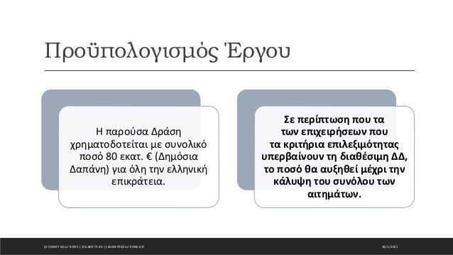 Προϋπολογισμός Έργου 18/1/2021 Η παρούσα Δράση χρηματοδοτείται με συνολικό ποσό 80 εκατ. € (Δημόσια Δαπάνη) για όλη την ελ...