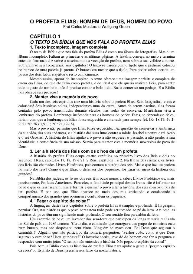 O PROFETA ELIAS: HOMEM DE DEUS, HOMEM DO POVO                             Frei Carlos Mesters e Wolfgang Gruen       CAPÍT...