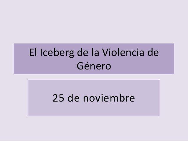 El Iceberg de la Violencia de Género 25 de noviembre