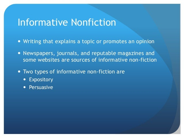 types of nonfiction essays articles and speeches essay Anecdotes are brief stories with some sort of point reviewing examples of anecdotes provides a good way to create your own anecdote.