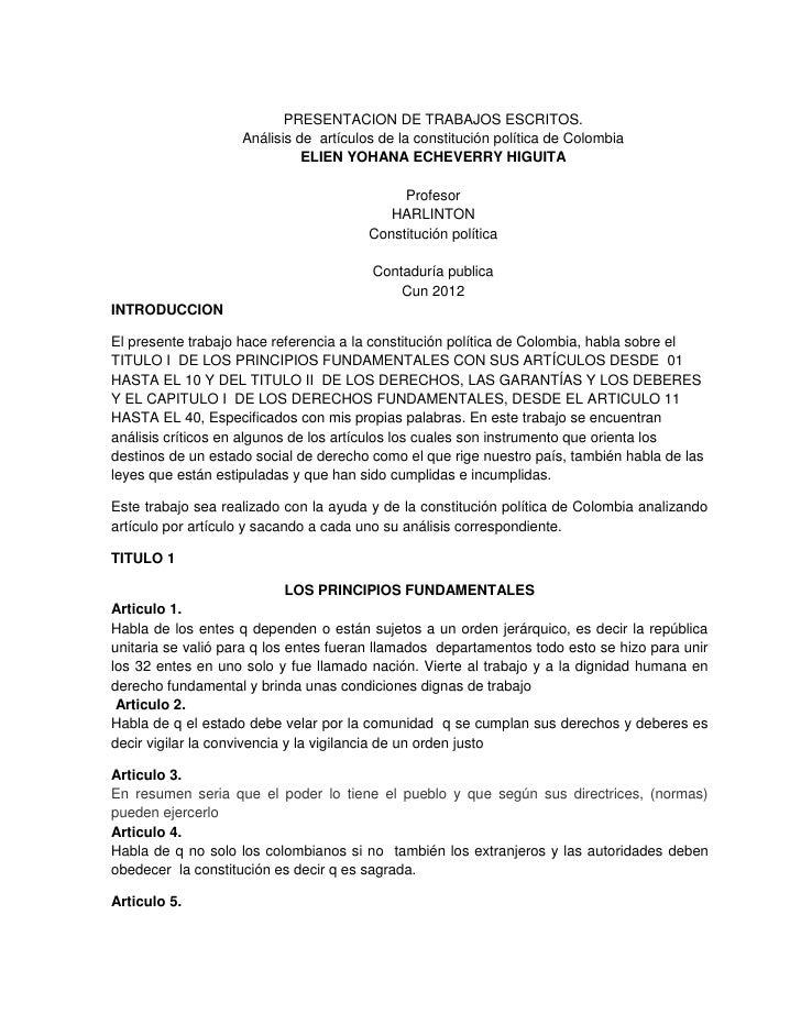 PRESENTACION DE TRABAJOS ESCRITOS.                    Análisis de artículos de la constitución política de Colombia       ...