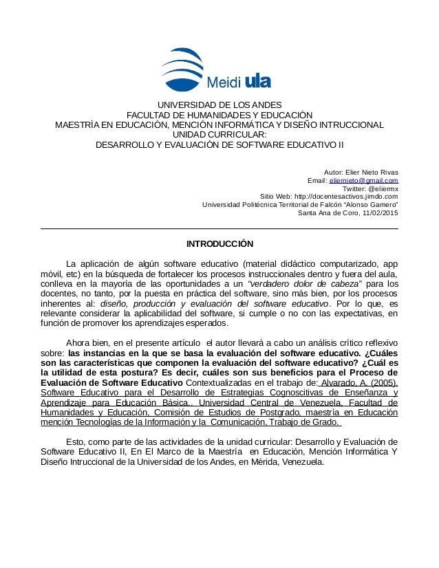 UNIVERSIDAD DE LOS ANDES FACULTAD DE HUMANIDADES Y EDUCACIÓN MAESTRÍA EN EDUCACIÓN, MENCIÓN INFORMÁTICA Y DISEÑO INTRUCCIO...