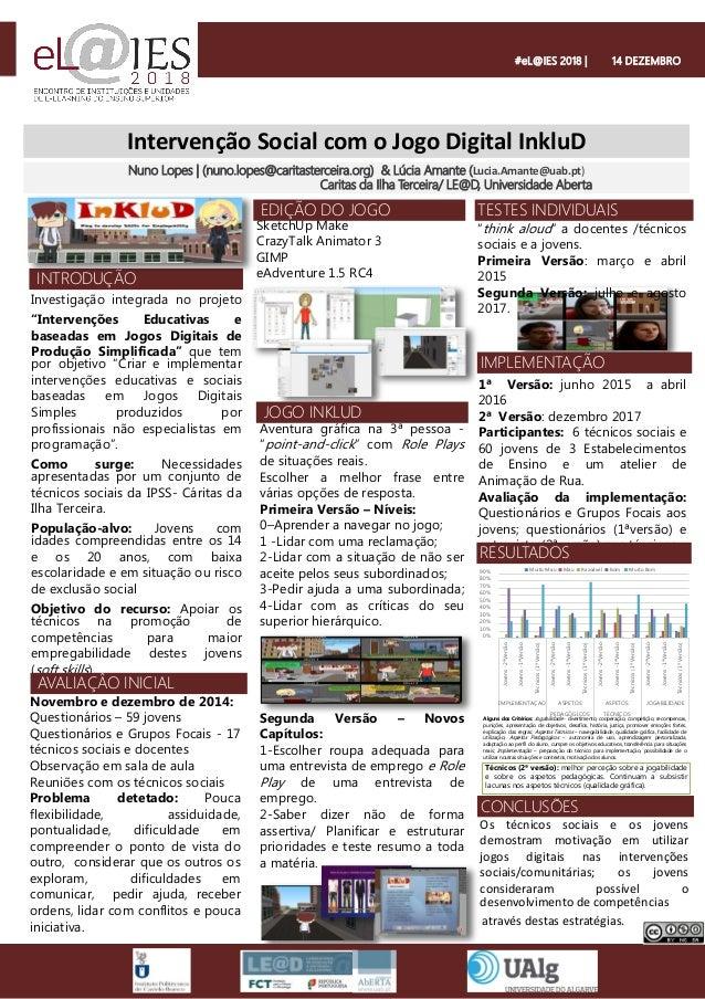 """Intervenção Social com o Jogo Digital InkluD Investigação integrada no projeto """"Intervenções Educativas e baseadas em Jogo..."""