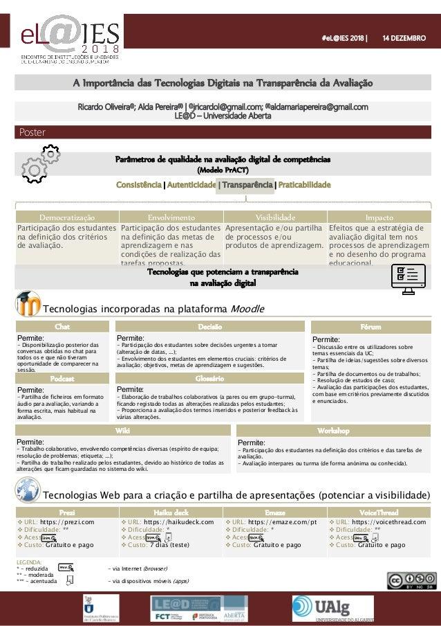 A Importância das Tecnologias Digitais na Transparência da Avaliação Ricardo Oliveira(i); Alda Pereira(ii) | (i)jricardol@...