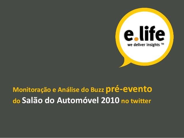 Monitoração e Análise do Buzz pré-evento do Salão do Automóvel 2010 no twitter
