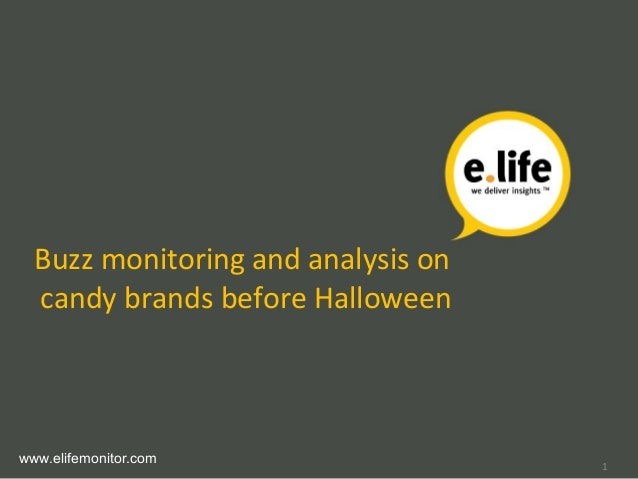Buzz monitoring and analysis on candy brands before Halloween www.elifemonitor.com 1