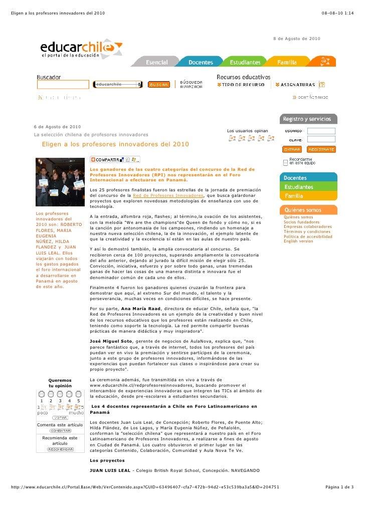 Eligen a los profesores innovadores del 2010