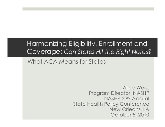 Harmonizing Eligibility, Enrollment and Coverage: Can States Hit the Right Notes? What ACA Means for States Alice Weiss Pr...