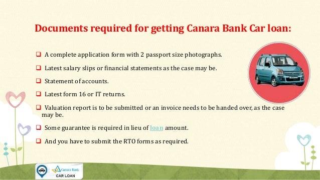 Car Loan Rate Of Interest Canara Bank