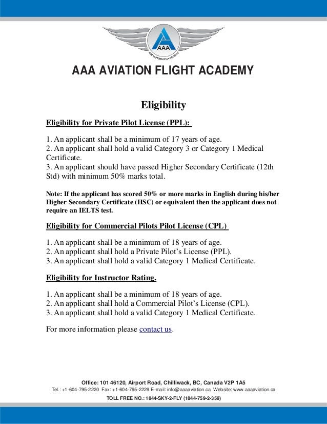 Aaa Aviation Flight Academy Eligibility Certificate