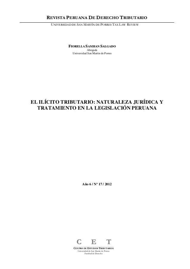 REVISTA PERUANA DE DERECHO TRIBUTARIO      UNIVERSIDAD DE SAN MARTÍN DE PORRES TAX LAW REVIEW               FIORELLA SAMHA...