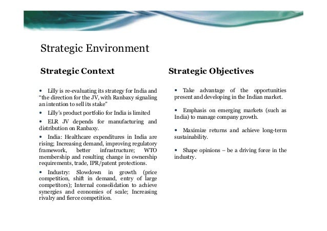 eli lilly ranbaxy case project Eli lilly's project resilience: anticipating the future of the pharmaceutical industry author case study strategy.