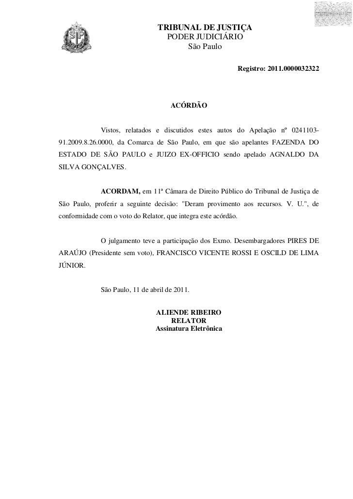 TRIBUNAL DE JUSTIÇA                                   PODER JUDICIÁRIO                                       São Paulo    ...