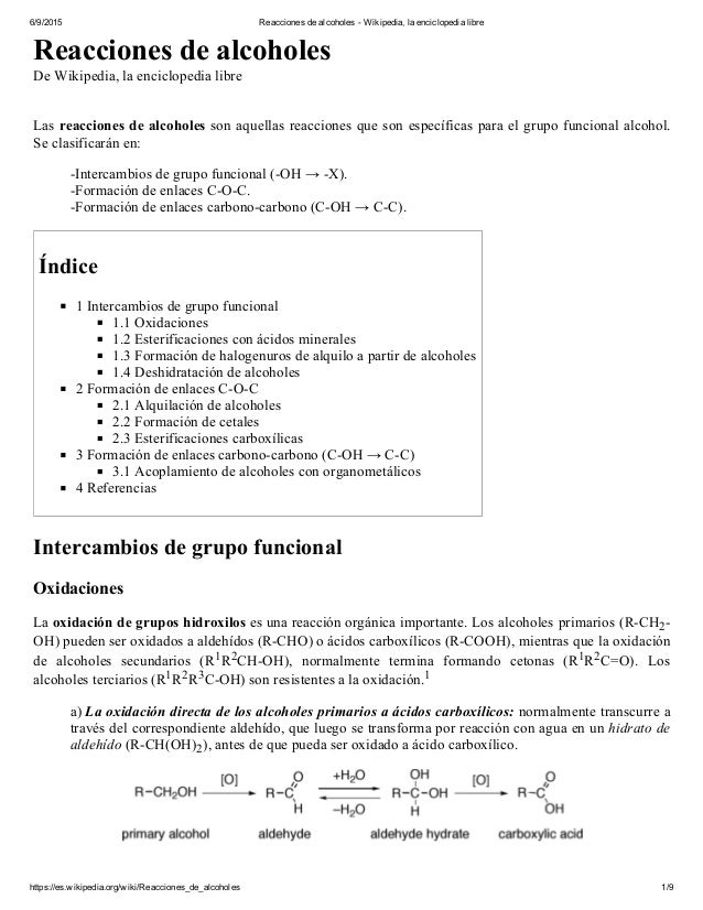 6/9/2015 ReaccionesdealcoholesWikipedia,laenciclopedialibre https://es.wikipedia.org/wiki/Reacciones_de_alcoholes ...