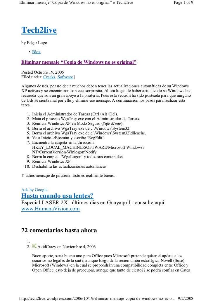 "Eliminar mensaje ""Copia de Windows no es original"" « Tech2live                             Page 1 of 9      Tech2live  by ..."