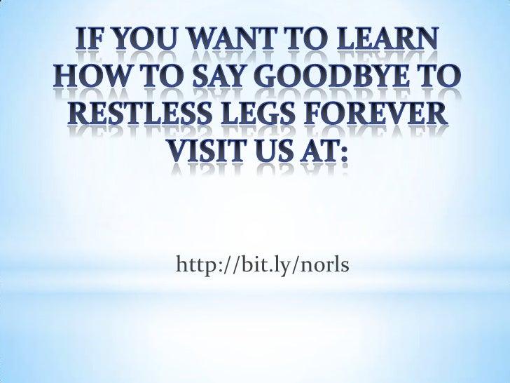 Eliminate Restless Leg Syndrome