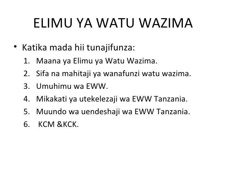 ELIMU YA WATU WAZIMA• Katika mada hii tunajifunza:  1.   Maana ya Elimu ya Watu Wazima.  2.   Sifa na mahitaji ya wanafunz...