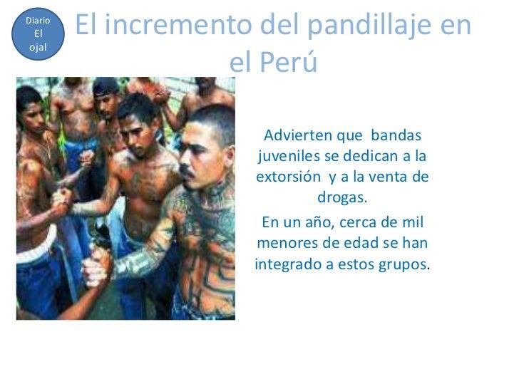 Diario El      El incremento del pandillaje enojal                    el Perú                         Advierten que bandas...