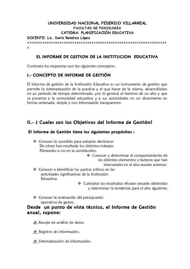 UNIVERSIDAD NACIONAL FEDERICO VILLARREALFACULTAD DE PSICOLOGÍACATEDRA: PLANIFICACIÓN EDUCATIVADOCENTE: Lic. Doris Ramírez ...