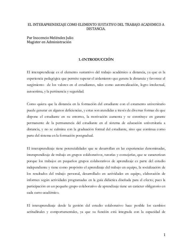 EL INTERAPRENDIZAJE COMO ELEMENTO SUSTATIVO DEL TRABAJO ACADEMICO A                             DISTANCIA.Por Inocencio Me...