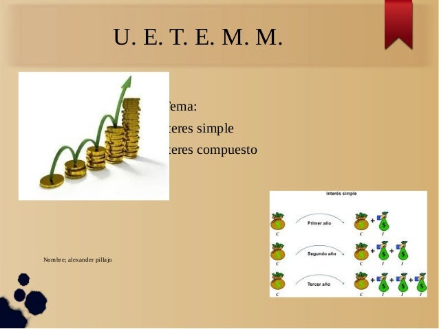 Tema:  Interes simple  Interes compuesto  Nombre; alexander pillajo  U. E. T. E. M. M.
