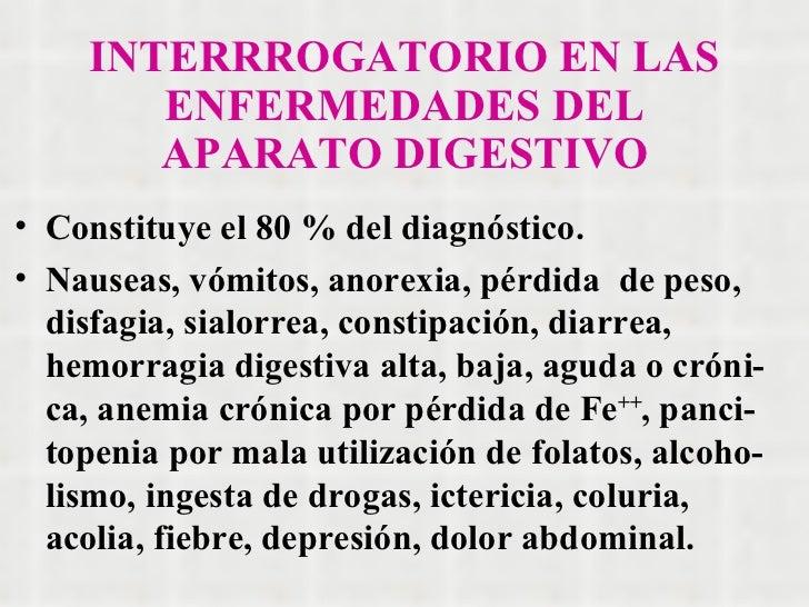 INTERRROGATORIO EN LAS ENFERMEDADES DEL APARATO DIGESTIVO <ul><li>Constituye el 80 % del diagnóstico. </li></ul><ul><li>Na...