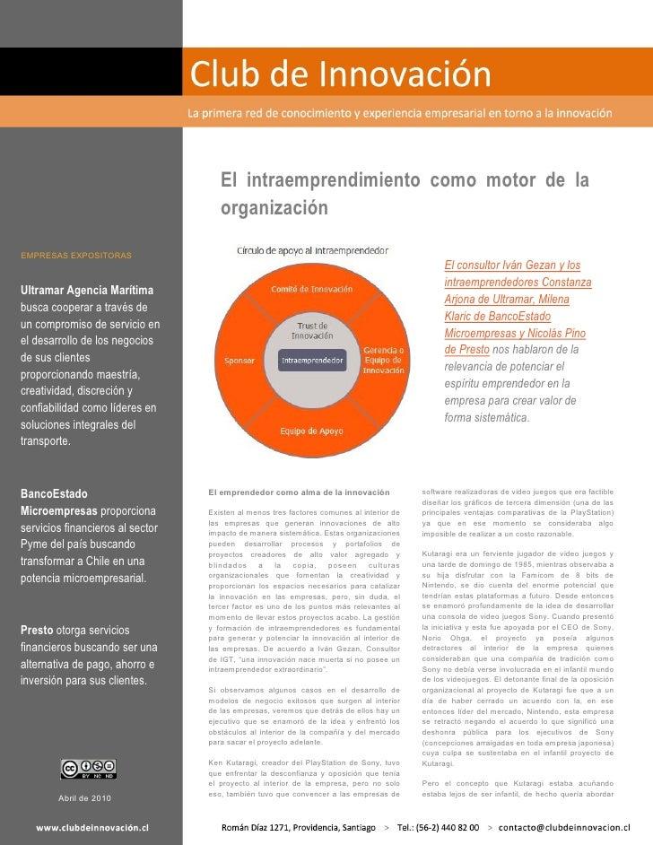 El intraemprendimiento como motor de la                                      organización  EMPRESAS EXPOSITORAS           ...