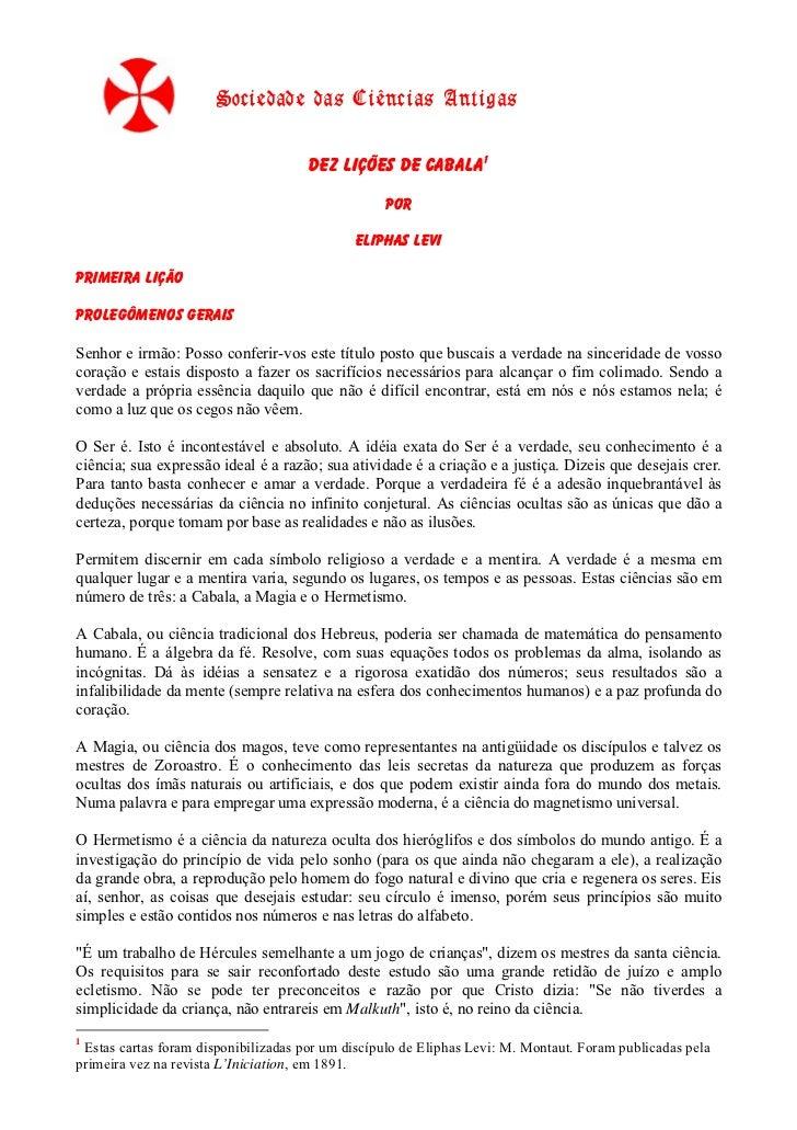 Sociedade das Ciências Antigas                                      Dez Lições de Cabala1                                 ...