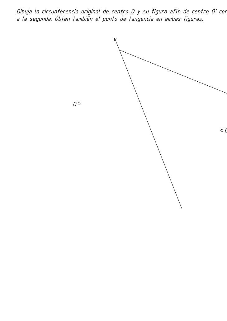 Elipse afín de una circunferencia dados los centros y una tangente de la elipse afín