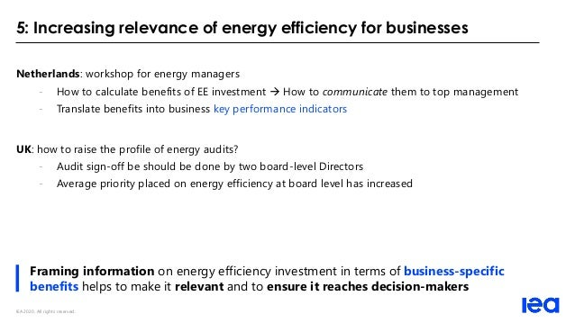 IEA 2020. All rights reserved. 5: Increasing relevance of energy efficiency for businesses Netherlands: workshop for energ...